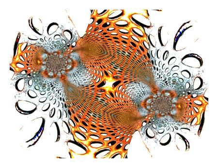 Unbeschreibliches, stark mit Gimp bearbeitetes, abstraktes Bild eines Gitters aus durchlöchertem Blech