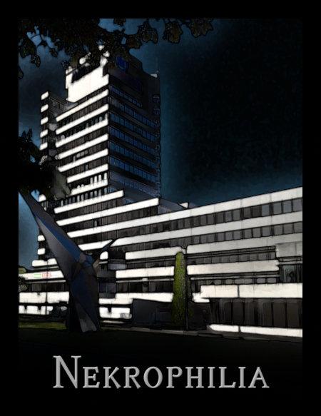 Stark mit Gimp bearbeitetes Foto des Allianz-Gebäudes in Hannover (an der Brühlstraße), darunter das Wort Nekrophilia