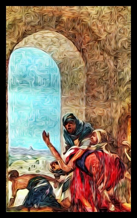 Stark mit Gimp nachbearbeitete Illustration aus dem 'Offenbarungsbuch' der Zeugen Jehovas.