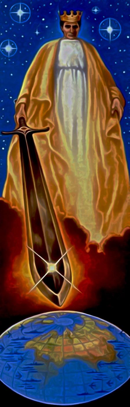 Grafik aus einem Traktat: Der gekrönte Gott steht im Weltraum, hält ein Schwert in seiner rechten Hand und richtet es auf die Erdscheibe