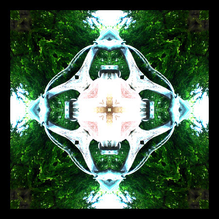 Stark mit Gimp bearbeitetes und zum absurden Kaleidoskop angeordnetes Bild eines Brunnens.