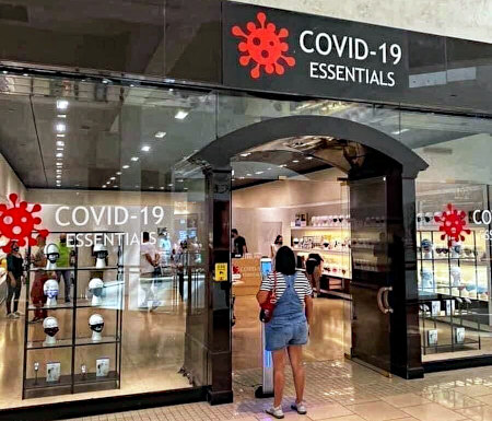 Ladengeschäft 'COVID-19 ESSENTIALS' verkauft Atemschutzmasken
