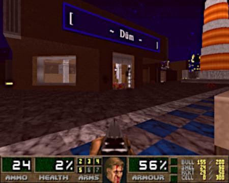 Screenshot aus Doom mit dem PWAD Alfonzone -- ein Leuchtturm und ein Gebäude 'Düm'.