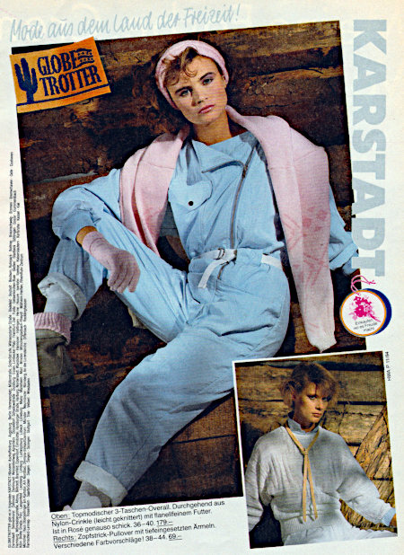 Karstadt-Reklame aus dem Jahr 1984: Mode aus dem Land der Freizeit. Es ist leider nicht so einfach möglich, die Frustfressen der weiblichen Models und die unfassbar geschmacklosen Farben der Achtziger Jahre so zu beschreiben, dass auch Blinde eine Vorstellung davon entwickeln. Nur so viel: Wenn man das sieht, versteht man, warum vernünftigere Menschen meist damit begonnen haben, dunkelgrau und schwarz zu tragen...