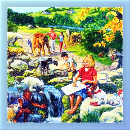 Illustration der Neuen Welt aus einem älteren 'Offenbarungsbuch' der Zeugen Jehovas