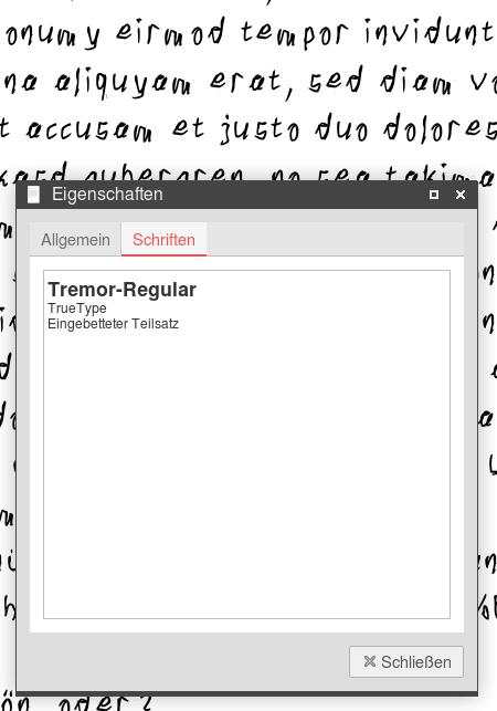 Ein PDF mit einem sehr krakeligen Handschrift-Font. Dazu der Dialog mit der Anzeige der eingebetteten Schriftarten, der die True-Type-Schriftart 'Tremor Regular' anzeigt