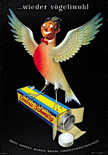 ...wieder vögeliwohl -- Dr. Wild & Co. Basel -- Contra-Schmerz -- Gegen Kopfweh, Migräne, Rheuma, Erkältungserscheinungen