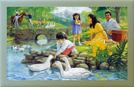 Illstration aus der Literatur der Zeugen Jehovas. Eine Familie am Fluss, die Kinder füttern Gänse, die Erwachsenen haben Pferde und niemals ist schlechtes Wetter oder gar Rassismus in der herrlichen Landschaft.