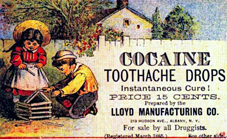 COCAINE TOOTHACHE DROPS -- Instantaneous Cure! -- PRICE 15 CENTS -- Prepared by the LLOYD MANUFACTORING CO., 219 HUDSON AV., ALBANY, N.Y. -- For sale by all Druggist -- (Registered March 1885)