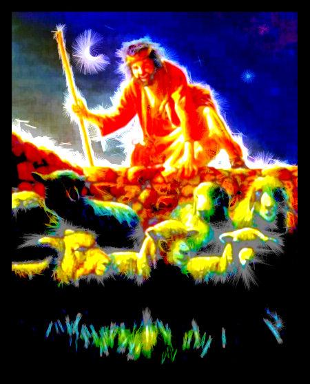 Stark mit Gimp bearbeitete Illustration aus der Literatur der Zeugen Jehovas. Ein Dieb steigt in der Nacht über eine Mauer und geht zu den Schafen
