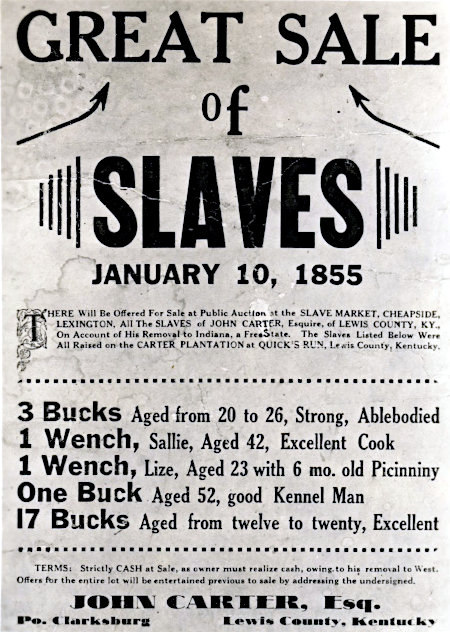 Plakat aus dem Jahr 1855 -- GREAT SALE OF SLAVES -- JANUARY 10, 1855