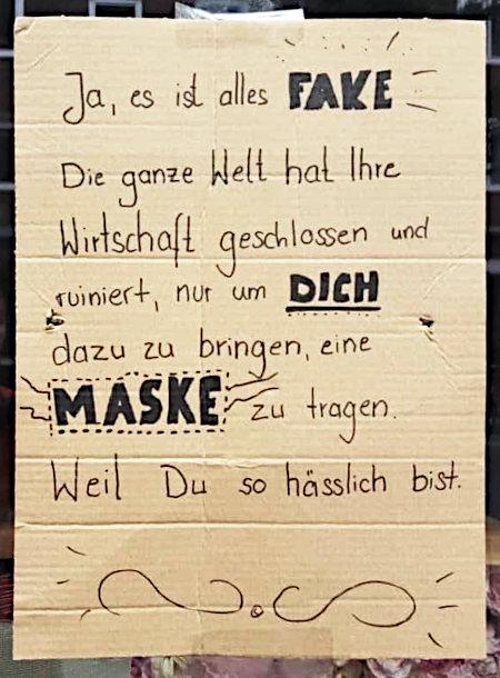 Beschriftete Pappe in einem Schaufenster: Ja, es ist alles FAKE. Die ganze Welt hat ihre Wirtschaft geschlossen und ruiniert, nur um DICH dazu zu bringen, eine MASKE zu tragen. Weil du so hässlich bist