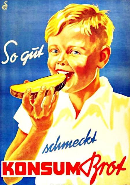 Werbung aus den Fünfziger Jahren der DDR: So gut schmeckt Konsumbrot