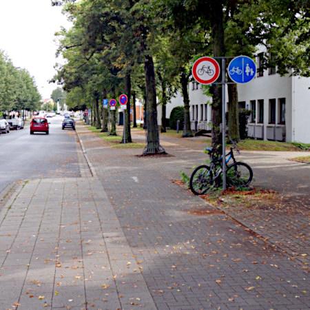 In Braunschweig stehen zwei Verkehrsschilder nebeneinander: Benutzungspflichtiger Radweg (Vz. 241), Weg für Fahrräder gesperrt (Vz 254).