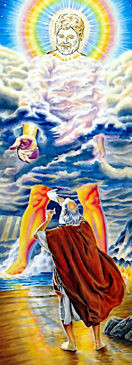 Illustration aus der Literatur der Zeugen Jehovas: Ein Riese steht vor Johannes im Meer