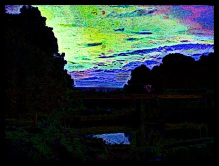 Stark mit Gimp nachbearbeitetes Foto der Wasserkunst bei Limmer am späten Abend.