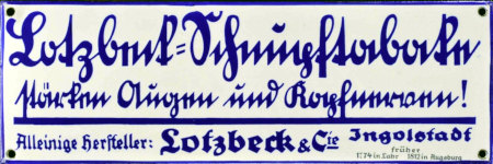 Alte Werbetafel in deutscher Kurrentschrift: Lotzbeck-Schnupftabake stärken Augen und Kopfnerven! -- Alleiniger Hersteller: Lotzbeck & Cie Ingolstadt