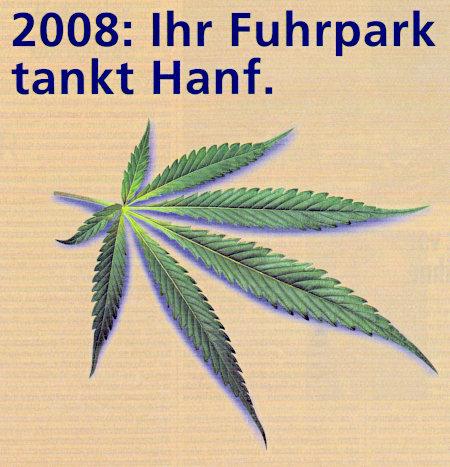 Detail aus einer Reklame der Deutschen Leasing aus dem Jahr 2002 -- 2008: Ihr Fuhrpark tankt Hanf. -- Darunter große Abbildung eines Hanfblattes