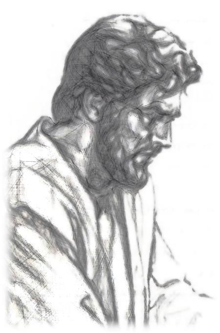 Mit Gimp bearbeitetes Bild von Jesus aus der Literatur der Zeugen Jehovas