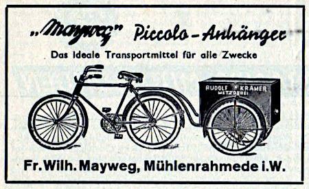 Werbung aus dem Jahr 1938 -- Bild eines Fahrrades mit Anhänger, auf dem Anhänger die Werbung einer Metzgerei -- Mayweg Piccolo-Anhänger -- Das ideale Transportmittel für alle Zwecke -- Fr. Wilh. Mayweg, Mühlenrahmede i.W.