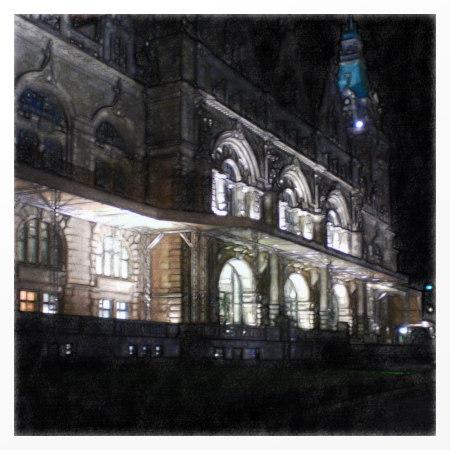 Das hannöversche Neue Rathaus bei Nacht