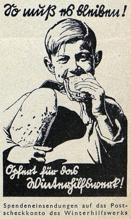 Anzeige aus dem Jahr 1934: So muss es bleiben! -- Zeichnung eines Jungen, der in eine Scheibe Brot beißt und einen Laib Brot unterm Arm geklemmt hat. -- Opfert für das Winterhilfswerk! -- Spendeneinsendungen auf das Postscheckkonto des Winterhilfswerks!