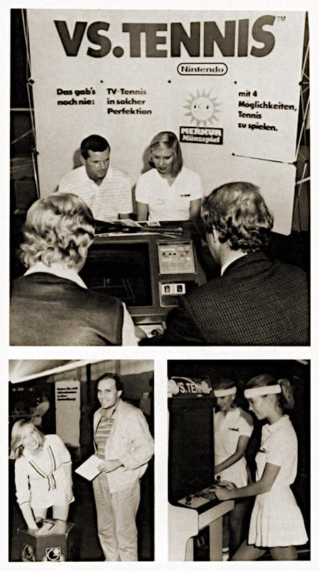 Fotos aus einem offenbar von Gauselmann bezahlten Schleichreklameartikel in einer Fachzeitschrift für Automatenaufsteller aus dem Jahr 1984. Vorgestellt wird die Arcade-Adaptierung des Nintendo-Videospieles Vs. Tennis auf einer Messe, im oberen Foto kann man klar die Reklame aus dem Jahr 1984 lesen -- VS. TENNIS -- NINTENDO -- Das gab's noch nie: TV-Tennis in solcher Perfektion -- Merkur-Sonne MERKUR Münzspiel -- mit 4 Möglichkeiten, Tennis zu spielen
