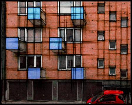 Stark mit Gimp bearbeitetes Foto einer Hausfassade