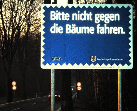 Bitte nicht gegen die Bäume fahren. -- Ford -- Brandenburg soll besser fahren