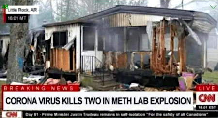 Screenshot von den CNN-Nachrichten. Aktuelle Meldung aus Little Rocks, Arizona: Corona virus kills two in meth lab explosion