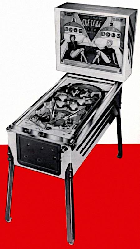Detail mit der Flipper-Abbildung aus einer an Aufsteller gerichteten Reklame für den Bally-Flipper Cue-Tease aus dem Jahr 1963