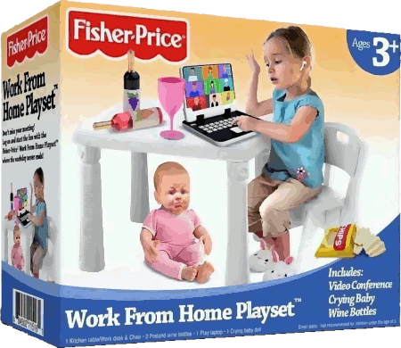 Fisher Price -- Ages 3+ -- Work From Home Playset -- Includes: Video Conference, Crying Baby, Wine Bottles