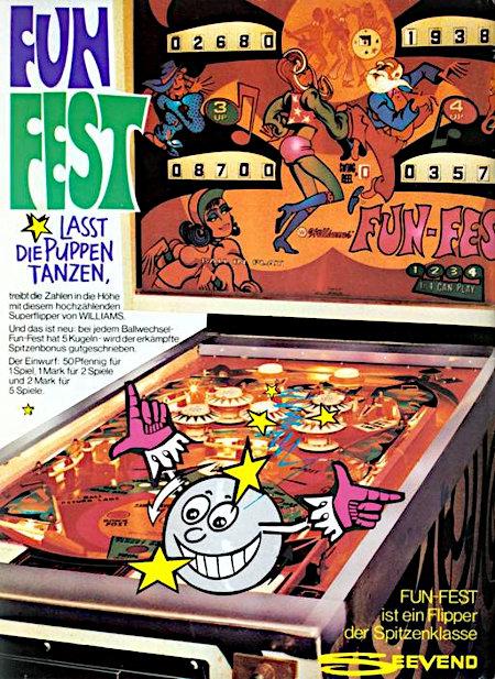 Fun-Fest lasst die Puppen tanzen, treibt die Zahlen in die Höhe mit diesem hochzählenden Superflipper von Williams. Und das ist neu: Bei jedem Ballwechsel - Fun-Fest hat fünf Kugeln - wird der erkämpfte Spitzenbonus gutgeschrieben. Der Einwurf: 50 Pfennig für ein Spiel, 1 Mark für 2 Spiele und 2 Mark für 5 Spiele. -- Fun-Fest ist ein Flipper der Spitzenklasse -- Seevend