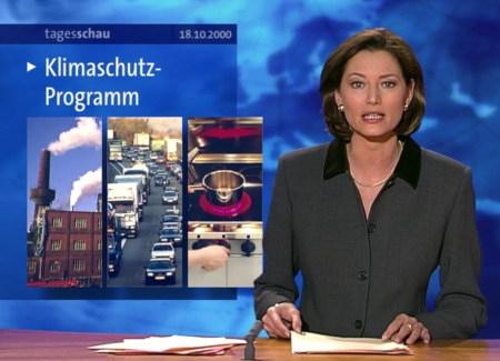 Screenshot der Tagesschau vom 18. Oktober 2000 -- Das Klimaschutzprogramm wird gemeldet.