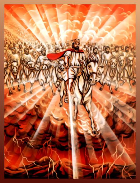 Obskure Illustration aus der Literatur der Zeugen Jehovas. Ein Gekrönter reitet mit erhobenem Schwert durch die Wolken, hinter ihm ein ganzes weißgekleidetes Heer. Unter den Wolken ein verheerendes Gewitter