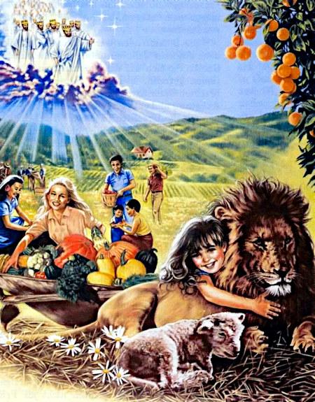 Illustration aus einem Wachtturm der Zeugen Jehovas: In den Wolken die Könige, die das Königreich des Neuen Zeitalters regieren, auf der Erde eine Familie beim Picknick im Grünen, die Tochter kuschelt mit einem Löwen, der neben einem Lamm liegt.