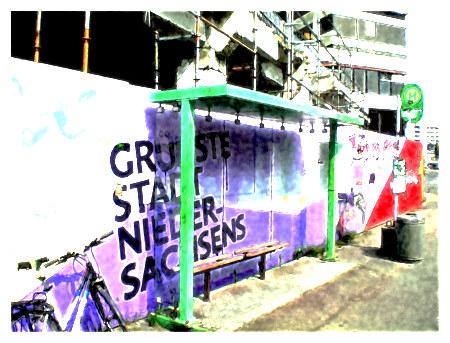 Graffito an einem Bauzaun des Ihmezentrums: Grünste Stadt Niedersachsens -- Stark mit Gimp bearbeitetes Foto