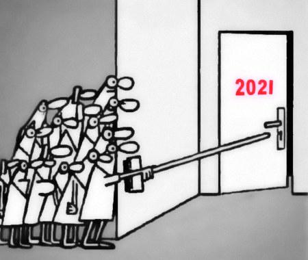 Unbeschreibliche Zeichnung einer Ansammlung von Menschen, die hinter dem Schutz einer Ecke ganz vorsichtig mit einem Besenstiel eine Tür aufstoßen, auf der 2021 steht.
