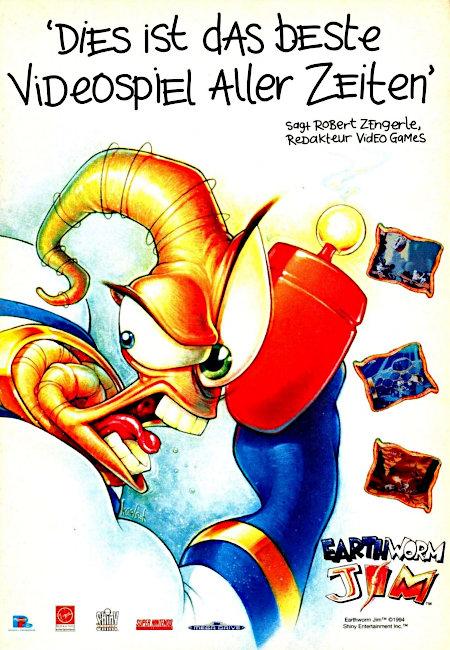 Werbung aus dem Jahr 1995 -- Dies ist das beste Videospiel aller Zeiten -- sagt Robert Zengerle, Redakteur Video Games -- Earthworm Jim