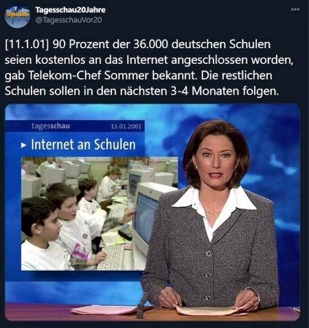 Tweet von Tagesschau20Jahre @TagesschauVor20 mit einer Tagesschau-Meldung vom 11. Januar 2001: [11.1.01] 90 Prozent der deutschen Schulen seien kostenlos an das Internet angeschlossen worden, gab Telekom-Chef Sommer bekannt. Die restlichen Schulen sollen in den nächsten 3-4 Monaten folgen