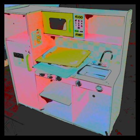 Stark mit Gimp nachbearbeitetes Foto einer Spielküche im Sperrmüll