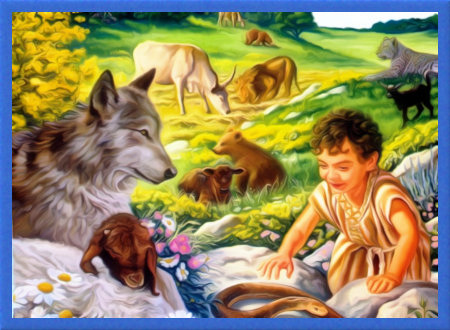 Stark bearbeitete Illustration aus einem Buch der Zeugen Jehovas: Kleines Kind spielt unter Nutztieren und wilden Tieren in wunderschöner Landschaft mit einer Schlange.