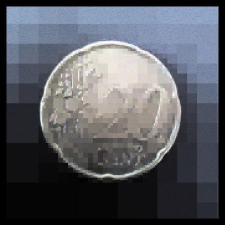 Stark mit Gimp bearbeitetes Foto einer 20-Cent-Münze