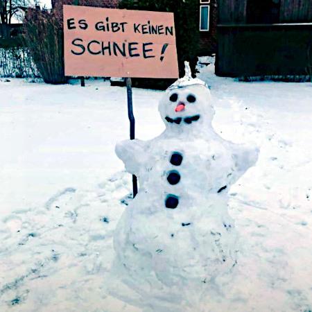 Foto eines Schneemannes mit Aluhut und Pappschild 'Es gibt keinen Schnee'.
