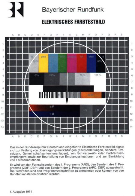 Bayerischer Rundfunk -- Elektrisches Farbtestbild -- Das in der Bundesrepublik Deutschland eingeführte elektrische Farbtestbild eignet sich zur Prüfung von Übertragungseinrichtungen (Fernsehleitungen, Sendern, Umsetzern, Gemeinschaftsanlagen), von Schwarzweiß- oder Farbfernsehempfängern sowie zur Beurteilung von Empfangssituationen und zur Einrichtung von Fernsehantennen. -- Es wird von den Fernsehsendern des 1. Programms (ARD), den Sendern des 2. Programms (ZDF, DBP) und den Sendern der 3. Programme (ARD, DBP) ausgestrahlt. Die Testzeiten sind den Programmzeitschriften zu entnehmen oder können von den Rundfunkanstalten erfahren werden. -- 1. Ausgabe 1971