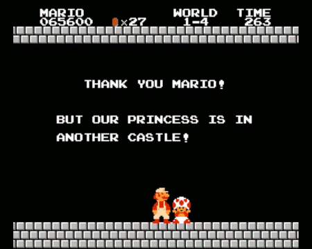 Screenshot aus Super Mario Bros.: Thank you, Mario! But our princess is in another castle.
