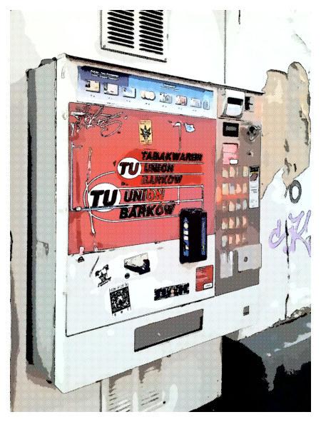 Stark mit Gimp bearbeitetes Foto eines Zigarettenautomaten