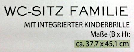 Detail einer Verpackung: WC-Sitz Familie -- Mit integrierter Kinderbrille -- Maße (B x H): ca. 33,7 x 45,1 cm