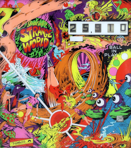 Backglass des Gottlieb-Flippers 'Strange World' aus dem Jahr 1978