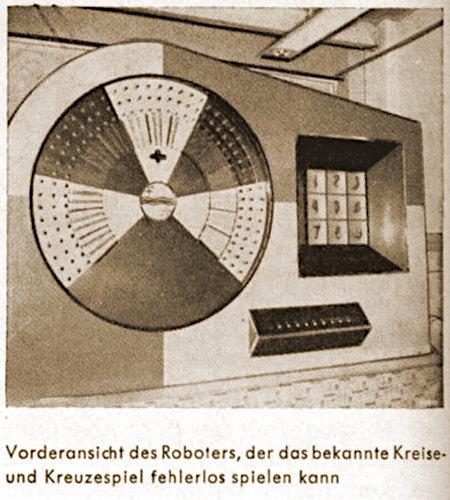 Aus einer Fachzeitschrift für Automatenaufsteller aus dem Jahr 1963: Vorderansicht des Roboters, der das bekannte Kreise- und Kreuzespiel fehlerlos spielen kann